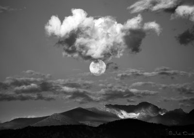 Moon over Mountains black and white